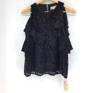 Nanette Lepore Cold Shoulder Long Sleeve Velvet